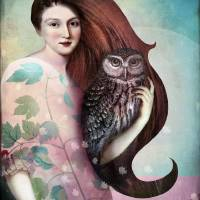 She and her Owl Art Prints & Posters by Catrin Welz-Stein