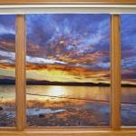 """Colorful Waterfront Classic Wood Window View"" by lightningman"