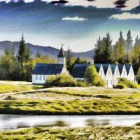The Little Church At Thingvellir Art Prints & Posters by Paul Coco