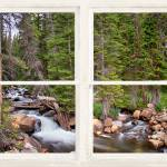 """Forest Stream Rustic White Washed Window View"" by lightningman"