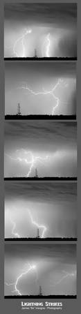 Lightning Strikes 5 Image Vertical Progression