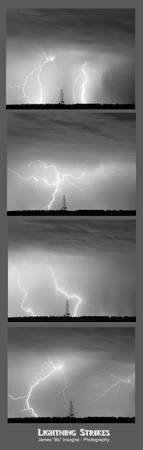 Lightning Strikes 4 Image Vertical Progression