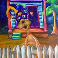 Dog Art - Whimsical Art Print of a Dog at Mardi Gr Art Prints & Posters by Joshua Matherne