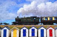 Steam Train above Beach Huts