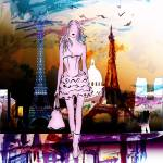 """Paris Eiffel Tower and Girl Modern Decor"" by GinetteCallaway"