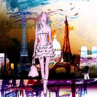 Paris Eiffel Tower and Girl Modern Decor