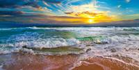 Panoramic Beach Sunset Orange Sunset Beach Prints
