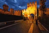 Medieval Castle Walls of Lazise at Night