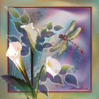 Dragonfly dream in green Art Prints & Posters by Gina Femrite