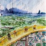 """Bridge In The Rain after Van Gogh after Hiroshige"" by GinetteCallaway"