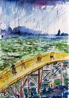 Bridge In The Rain after Van Gogh after Hiroshige
