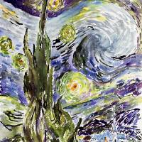 Starry Night After Van Gogh by Ginette Art Prints & Posters by Ginette Callaway