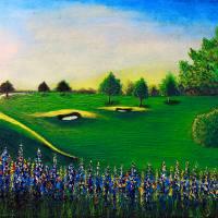 Golf Course Sunrise Landscape 1 Art Prints & Posters by Ricardos Creations