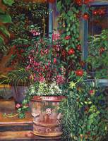 POT OF FUCHSIA FLOWERS