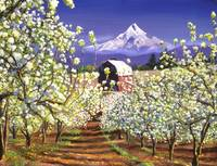 APPLE BLOSSOMS MOUNT HOOD