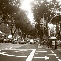 Orchard Road Singapore, Black and white Art Prints & Posters by Blue Sentral Fine Art Photography