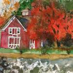 """Red Barn in Autumn Watercolor Painting"" by schulmanart"
