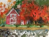 Red Barn in Autumn Watercolor Painting
