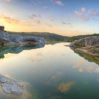 """Texas Landscapes - Pedernales Falls Sunrise in the"" by RobGreebonPhotography"