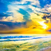 beach sunset panorama yellow sunset sky art prints Art Prints & Posters by eszra tanner