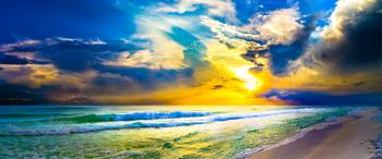 beach sunset panorama yellow sunset sky art prints
