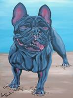 Black French Bulldog Beach Dog-Carla Smale