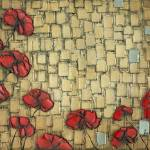 """Abstract gold red poppies"" by modernhouseart"