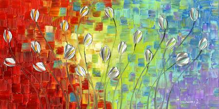 Abstract Landscape Silver Tulips