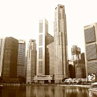 Cityscape  Singapore 2014, monochrome Art Prints & Posters by Blue Sentral Photography