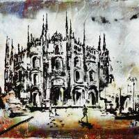 Duomo Milan Modern Decorative Mixed Media Art Art Prints & Posters by Ginette Callaway