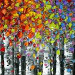 """Rainbow Birch Trees"" by modernhouseart"