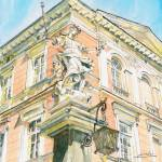 """Sculpture at Corner of Jagiellonian University"" by ShaSha"