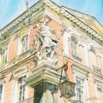 """Sculpture at Corner of Jagiellonian University"" by ShaSha"