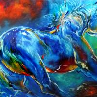 CAPTURED WILD STALLION EQUINE Art Prints & Posters by Marcia Baldwin