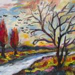 """Autumn Red Flying South Impressionist Oil"" by GinetteCallaway"