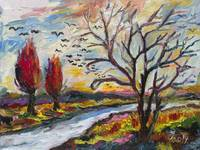Autumn Red Flying South Impressionist Oil