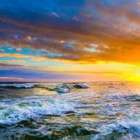 Red sunset panorama red ocean sunset with waves Art Prints & Posters by eszra tanner