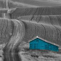 Blue Barn Along a Country Road Art Prints & Posters by Don Schwartz