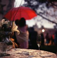 Summer rain champagne on table in wedding