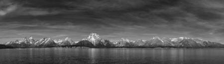 Jackson Lake Panorama B&W 2
