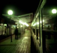 Old train at night in empty station green square H