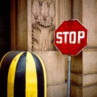 Stop Sign Post Office NYC 1979