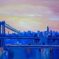 Blue Manhattan Skyline with Bridge and Vanilla Sky Art Prints & Posters by M Bleichner