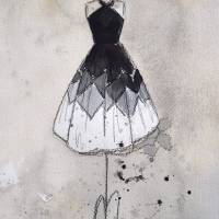 Black and White Marjorie Vintage Dress Art Prints & Posters by Lauren Maurer