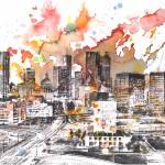 """Atlanta cityscape skyline art painting"" by idillard"