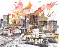 Atlanta cityscape skyline art painting