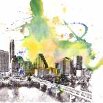 """Austin cityscape skyline art painting"" by idillard"