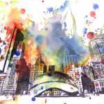 """Chicago bean cityscape skyline art painting"" by idillard"