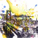 """San Francisco cityscape skyline art painting"" by idillard"