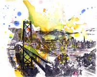 San Francisco cityscape skyline art painting